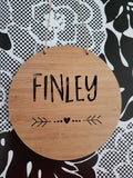 Personalised Wooden Wall Hanging - Arrow and Heart - Little Birdy Finds
