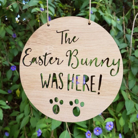 Easter Bunny Was Here!  Bamboo Wall Hanging - Little Birdy Finds