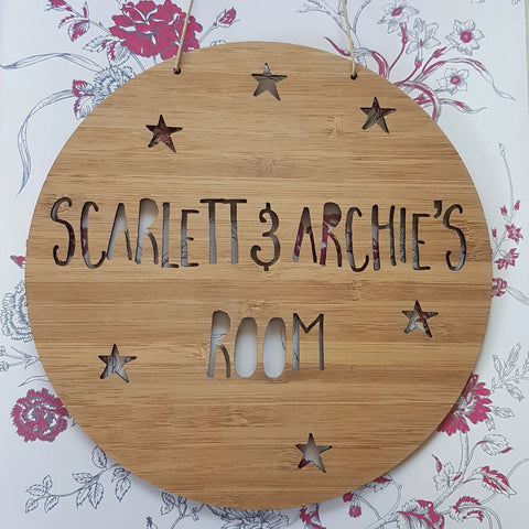 Stars Personalised Wooden Wall Hanging - Little Birdy Finds
