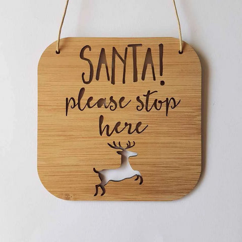 Santa Please Stop Here Reindeer Wall Hanging - Little Birdy Finds