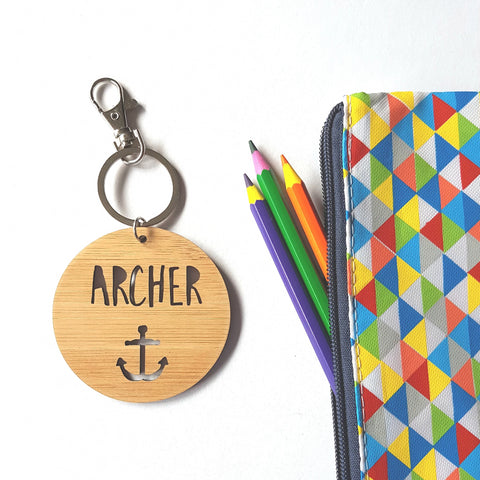 Anchor Bag Tag / Keyring Wood - Little Birdy Finds