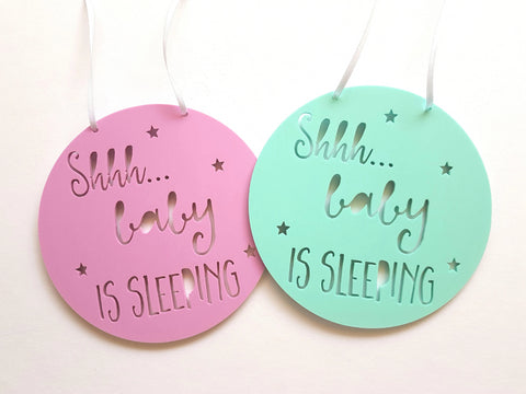 Shhh Baby is Sleeping Wall hanging - Pastel - Little Birdy Finds
