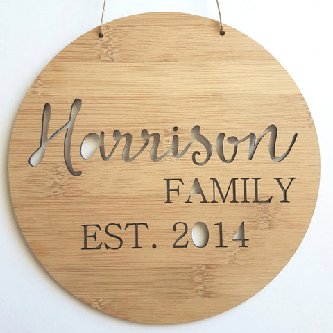 Personalised Family Name Wooden Wall Hanging - Little Birdy Finds