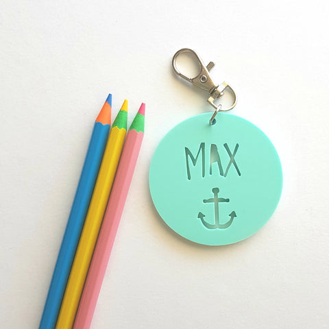 Anchor Pastel Bag Tag / Keyring - Little Birdy Finds