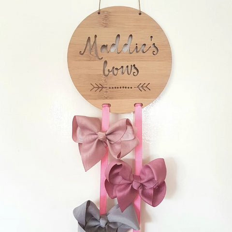 Personalised Bow-Hairclip holder DOTS AND ARROW Design - Little Birdy Finds