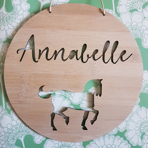 Personalised Wooden Wall Hanging - Horse / Pony - Little Birdy Finds