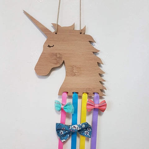 Personalised UNICORN Bow/Hairclip holder - Little Birdy Finds