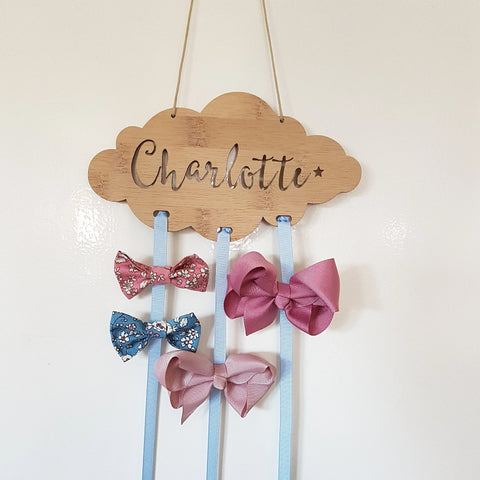 Personalised Wooden Cloud Bow-Hairclip holder - Little Birdy Finds