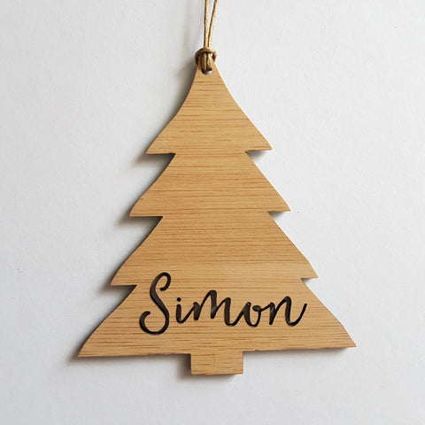 Personalised Wood Christmas Decoration / Ornament CHRISTMAS TREE DESIGN - Little Birdy Finds