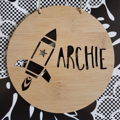 STAR ROCKET Personalised Wooden Wall Hanging - Little Birdy Finds