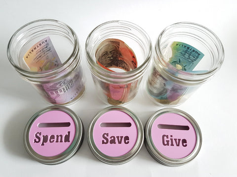 Save Spend Give Mason Jar - Little Birdy Finds