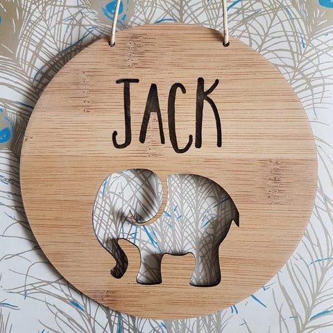 Personalised Elephant Plaque - Little Birdy Finds