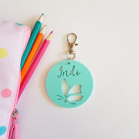 BUTTERFLY  Pastel Bag Tag / Keyring - Little Birdy Finds