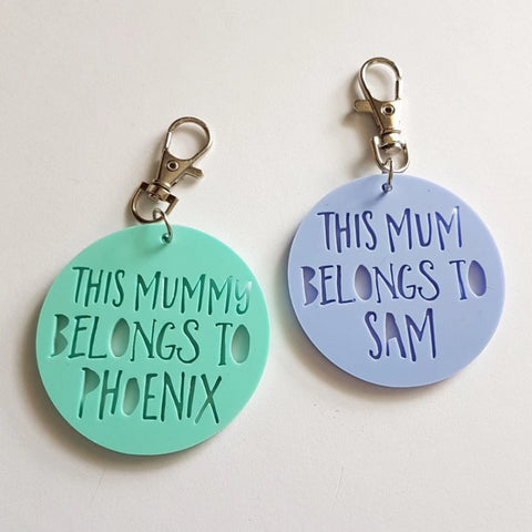 This Mum Belongs To..Pastel Coloured Keyring - Little Birdy Finds