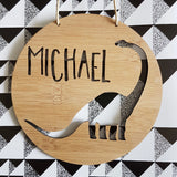 DINOSAUR Personalised Wooden Wall Hanging - Little Birdy Finds
