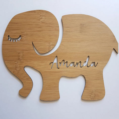 Personalised ELEPHANT SHAPE Wooden Wall / Door Hanging - Little Birdy Finds