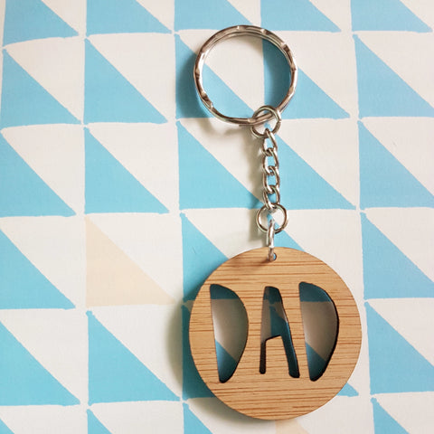 Wooden Dad keyring - Little Birdy Finds