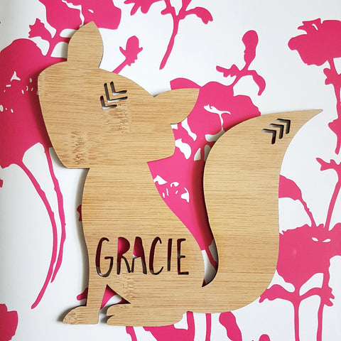 Fox Personalised Wooden Plaque - Little Birdy Finds