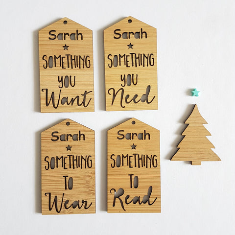 Personalised Gift Tags Something You Need-Something To Read-Something To Wear-Something You Want - Little Birdy Finds