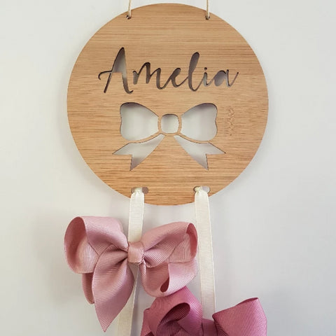 Personalised Wooden Bow-Hairclip holder BOW Design - Little Birdy Finds