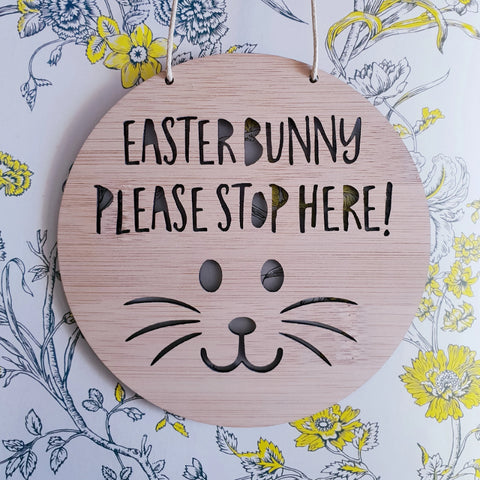 Easter Bunny Please Stop Here Wall Hanging - Little Birdy Finds