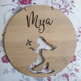 Personalised Wooden Wall Hanging MERMAID - Little Birdy Finds