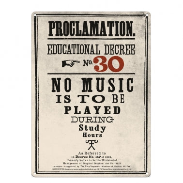 Proclamation No 30 Large Tin Sign