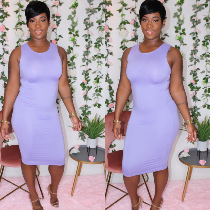 Kelly Midi Dress (Lavender)