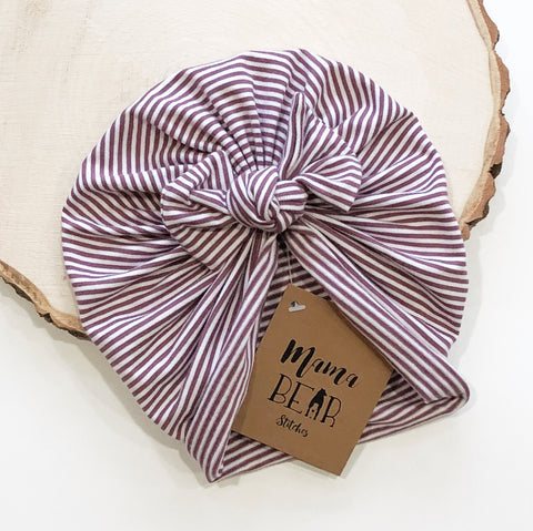 UNLINED Bow Beanie - Purple Stripes