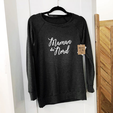Women Crew neck - Charcoal Bamboo (Northern Mama/Maman du Nord)