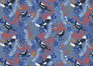 Taking Flight ~ Merry Magpies on Blue
