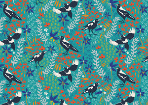 Taking Flight ~ Merry Magpies on Green