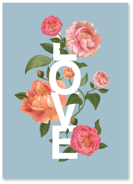 Love Flowers Wedding Card