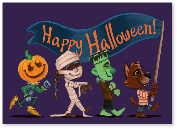Monsters on Parade Halloween Card