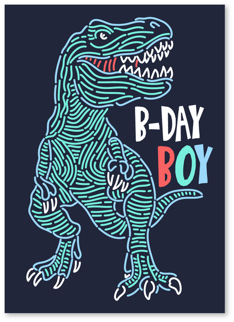 T Rex B Day Boy Card