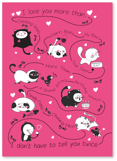 Playful Cats Valentine's Day Card