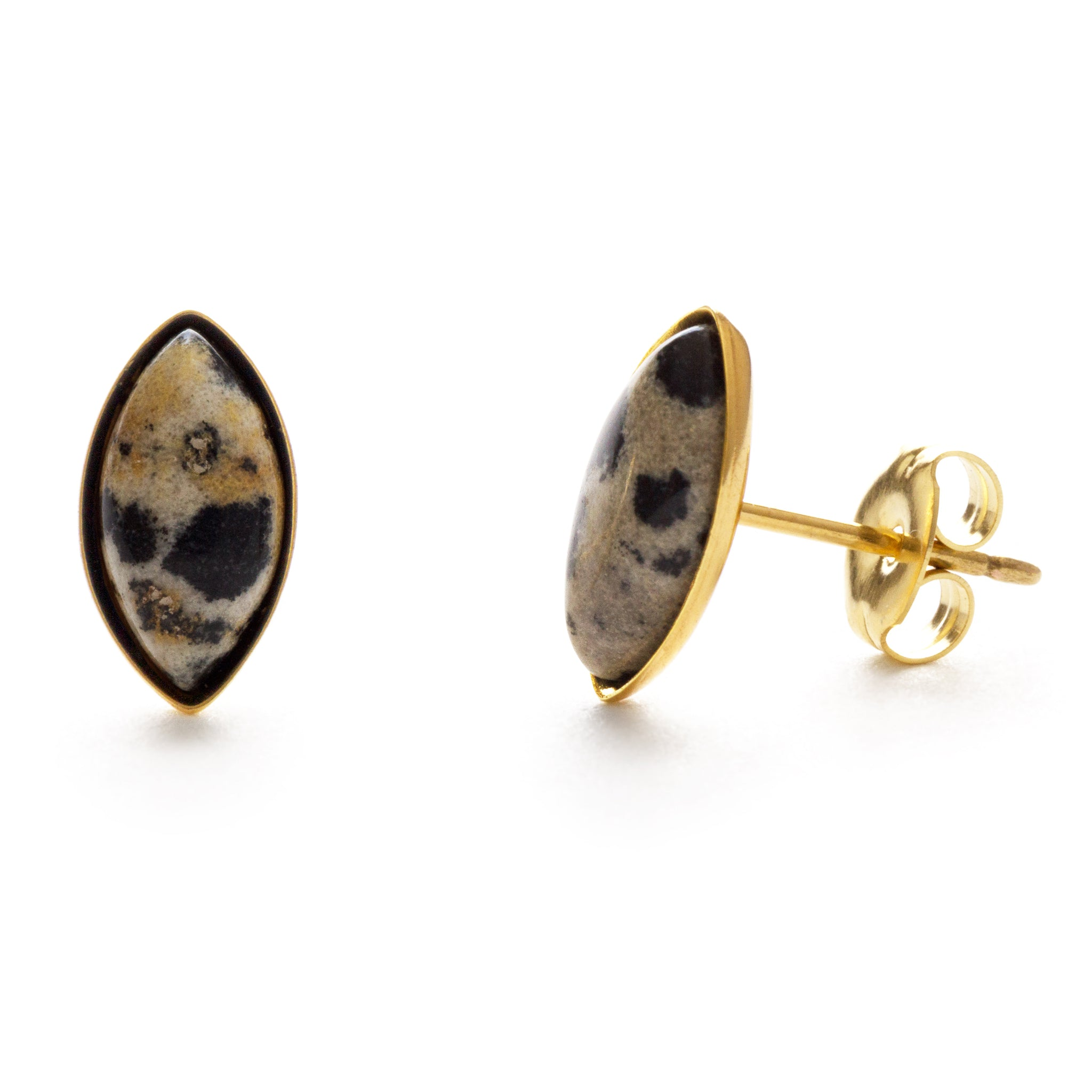 Navette Stone Stud Earrings