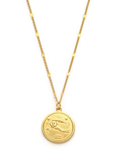 Zodiac Coin Necklace - Aquarius