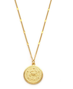 Zodiac Coin Necklace - Cancer