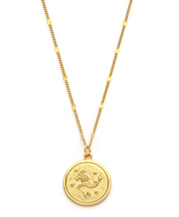Zodiac Coin Necklace - Capricorn