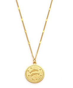 Zodiac Coin Necklace - Pisces