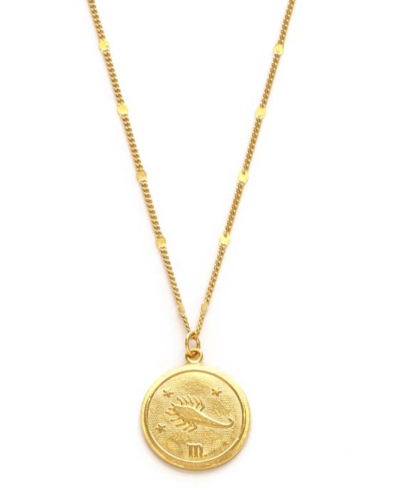 Zodiac Coin Necklace - Scorpio