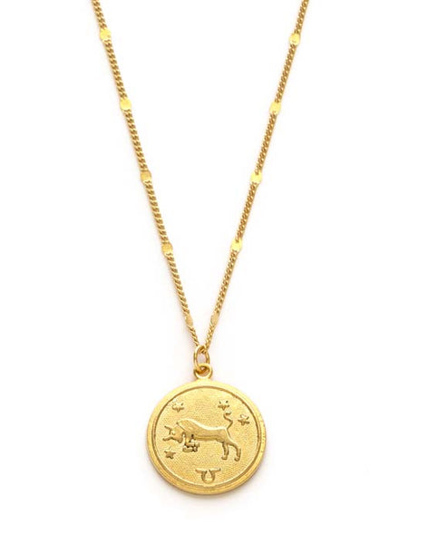 Zodiac Coin Necklace - Taurus