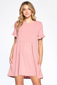 Ruffled Sleeve Dress Mauve