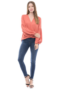 Drape Front Top in Coral