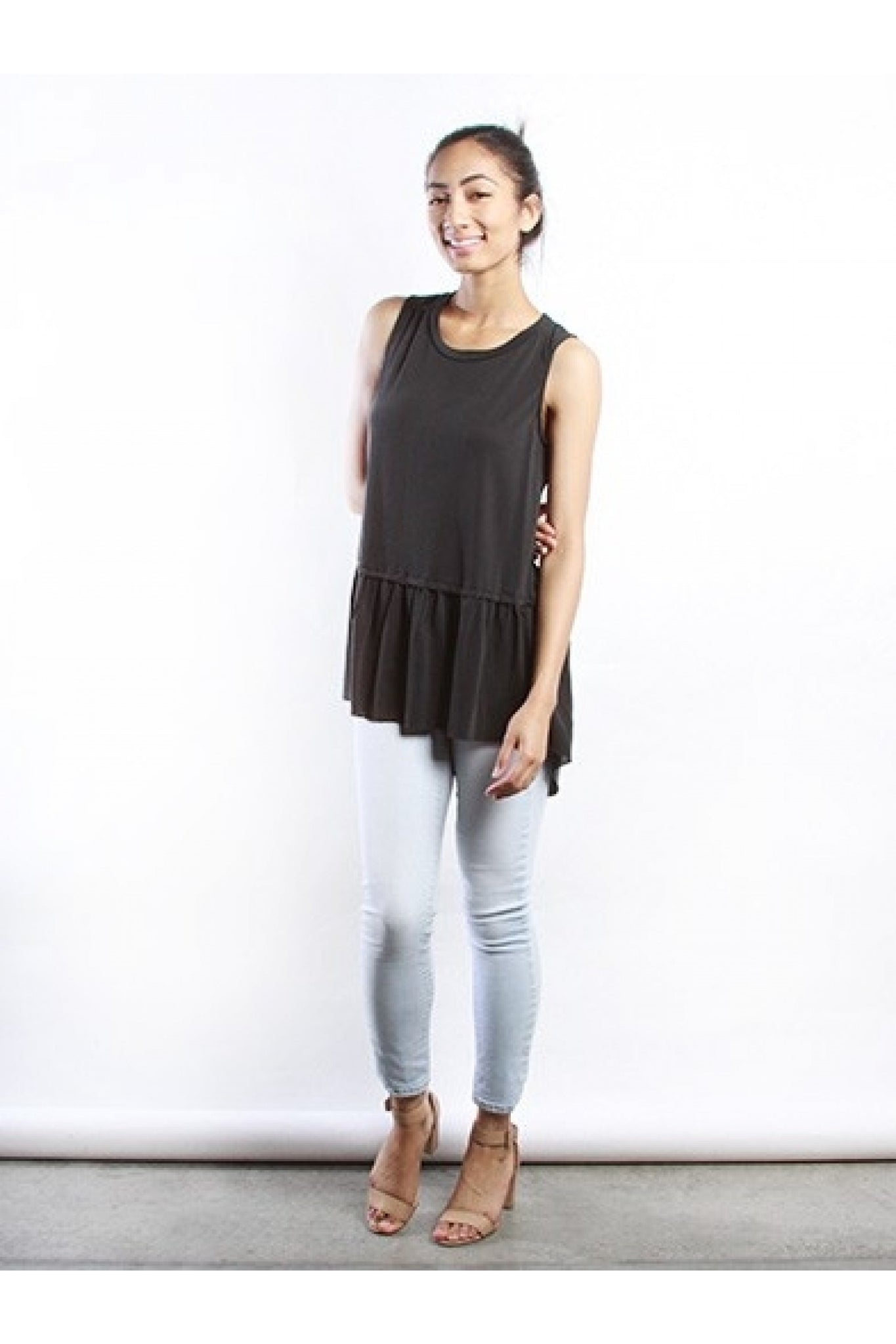 Luna Charcoal Ruffle Hem Top