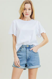 Ruffled Sleeve Tee White