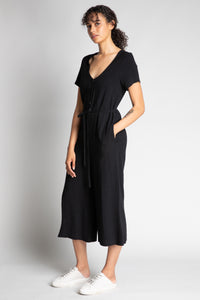 Black Short Sleeve Jumpsuit