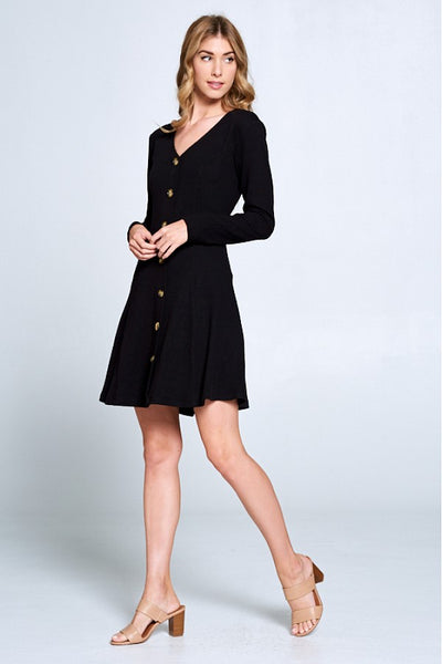 Button Front Black Dress