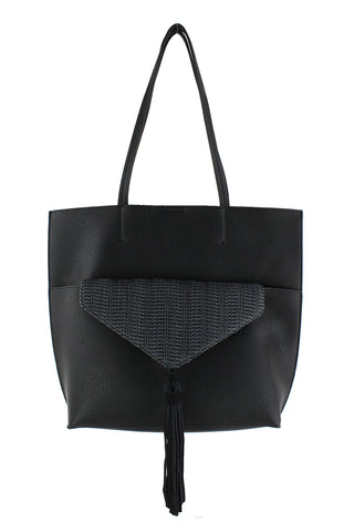 Black Tote Bag with Tassel